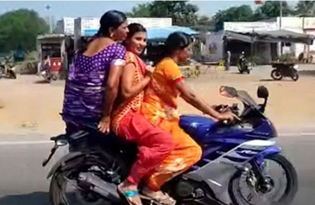 women-triple-ride